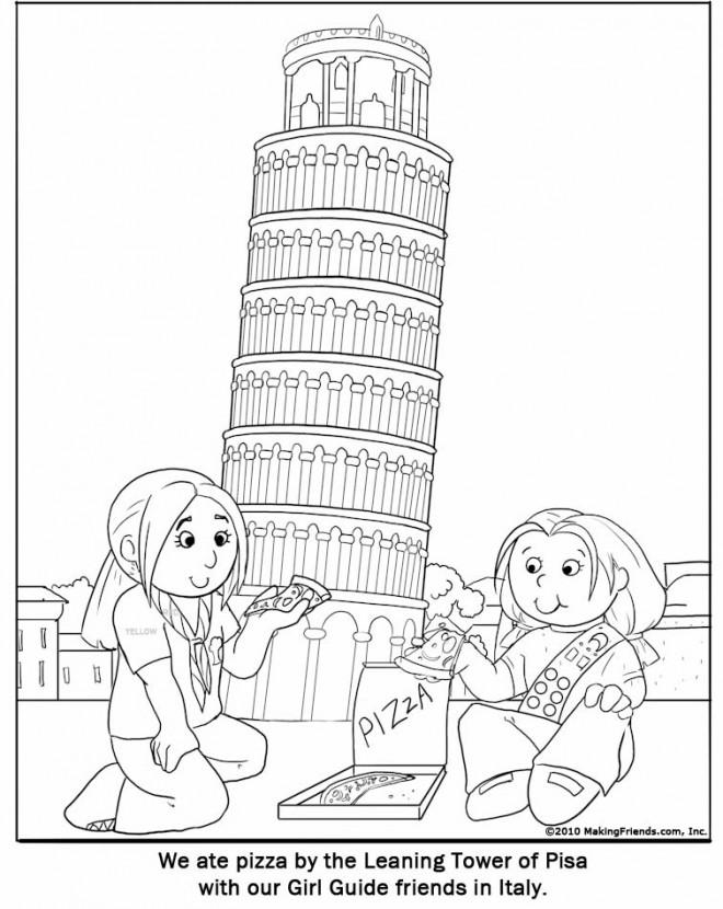 Coloriage et dessins gratuits Italie La tour de Pise à imprimer