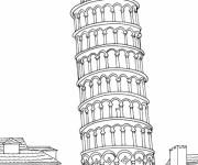 Coloriage et dessins gratuit Italie La tour de Pise à télécharger à imprimer
