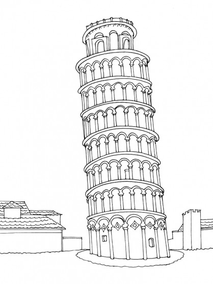 Coloriage et dessins gratuits Italie La tour de Pise à télécharger à imprimer