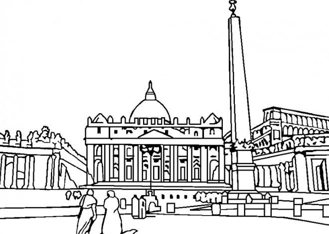 Coloriage et dessins gratuits Italie Vatican adulte à imprimer