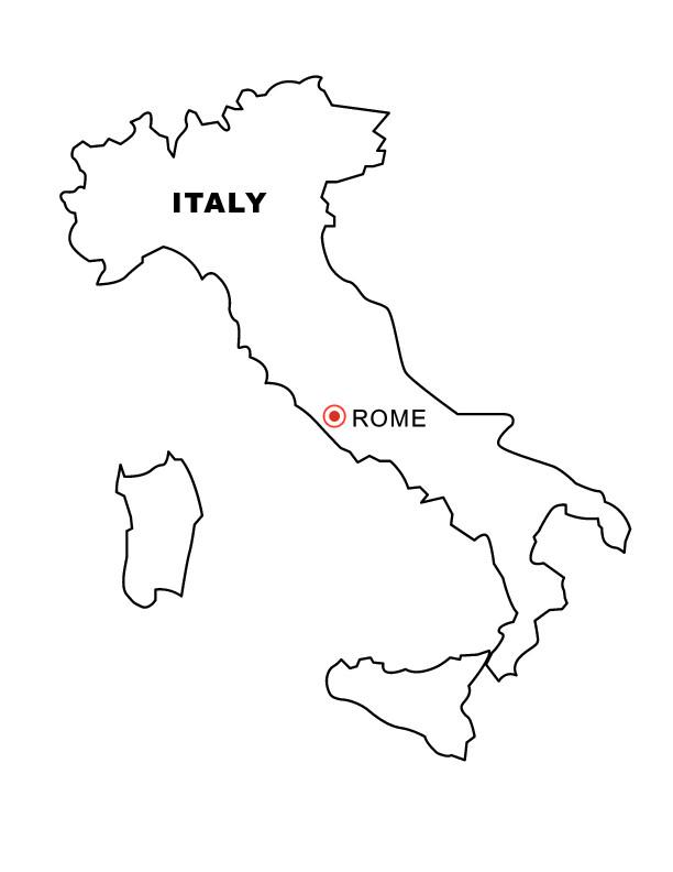 Coloriage et dessins gratuits La Carte de L'Italie simple à imprimer