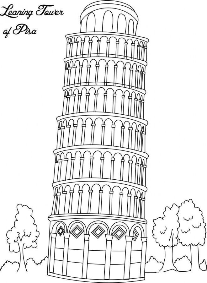 Coloriage et dessins gratuits La tour de Pise Architecture à imprimer