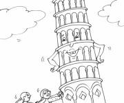 Coloriage et dessins gratuit La tour de Pise penchée à imprimer