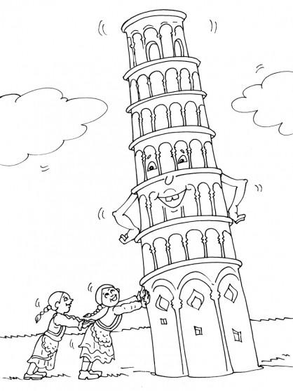 Coloriage et dessins gratuits La tour de Pise penchée à imprimer