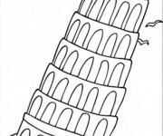 Coloriage La tour de Pise penchée magnifique