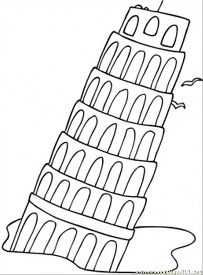 Coloriage et dessins gratuits La tour de Pise penchée magnifique à imprimer