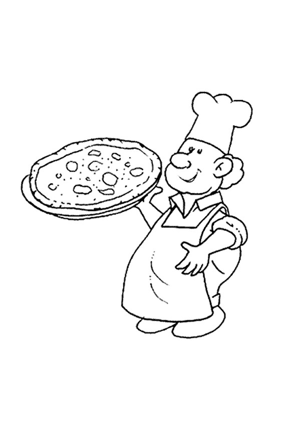 Coloriage et dessins gratuits Le Chef prépare une Pizza Italienne à imprimer