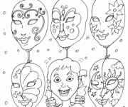 Coloriage Masques Italiens