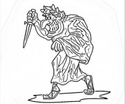 Coloriage Statue d'empereur Romain drôle