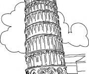 Coloriage tour de pise à Rome