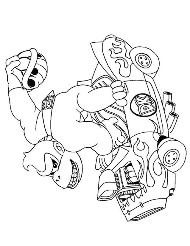 Coloriage et dessins gratuits Donkey Kong dans sa voiture à imprimer