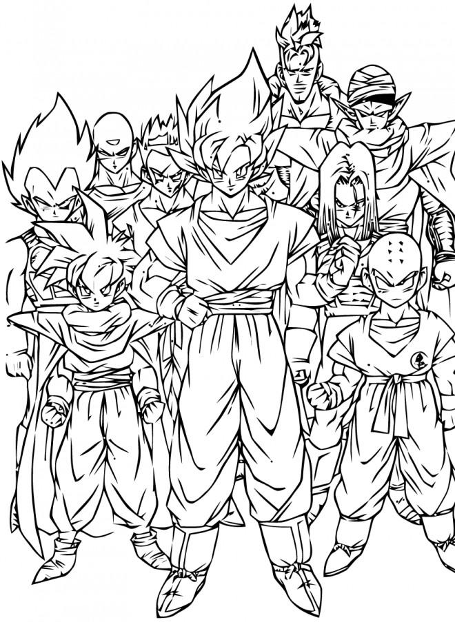 Coloriage Dragon Ball Z Personnages Dessin Gratuit A Imprimer