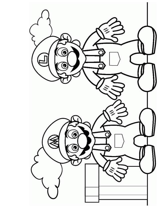 Coloriage Super Mario et Luigi jeux vidéo dessin gratuit à imprimer