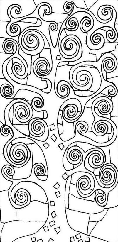 Coloriage et dessins gratuits Arbre Peintre Klimt à imprimer