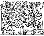 Coloriage et dessins gratuit Joli Tableau Klimt à imprimer