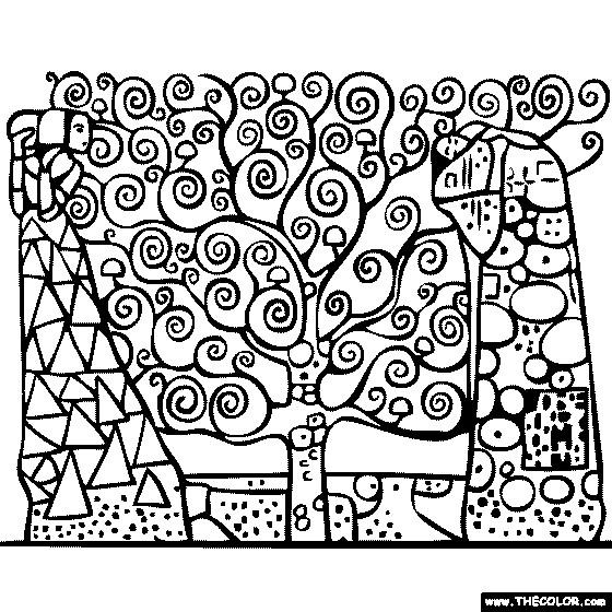 Coloriage et dessins gratuits Joli Tableau Klimt à imprimer