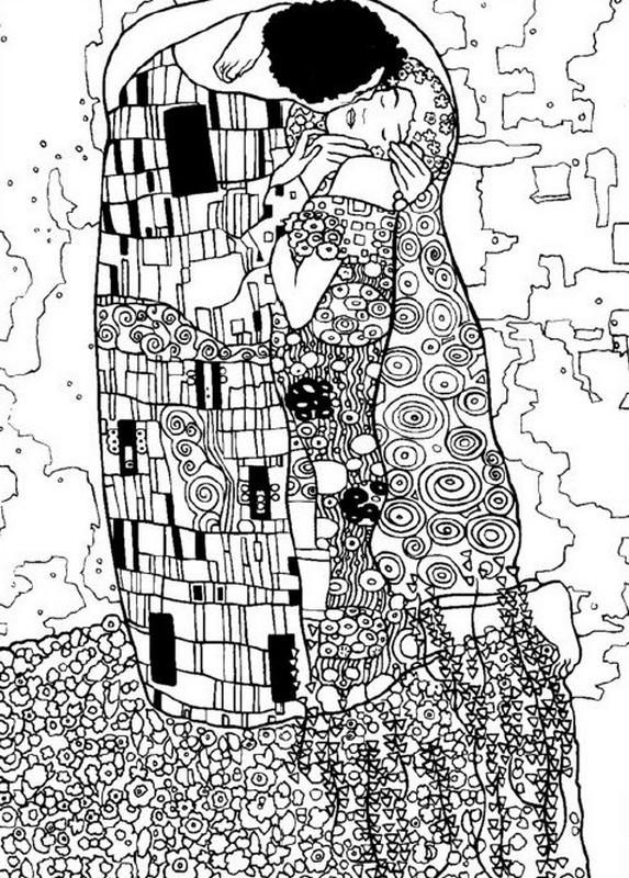 Coloriage et dessins gratuits Klimt Amour à imprimer