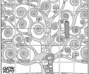 Coloriage Klimt Arbre