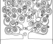 Coloriage et dessins gratuit Klimt Arbre de vie à imprimer