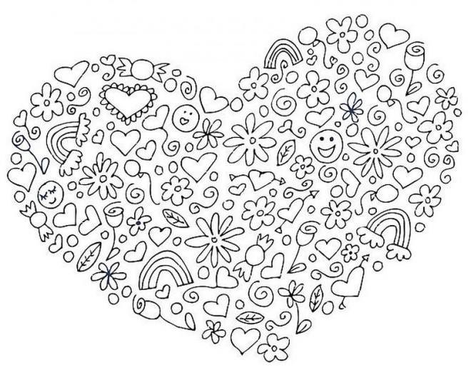Coloriage et dessins gratuits Klimt Coeur d'Amour à imprimer