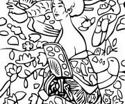 Coloriage et dessins gratuit Klimt Femme Japonaise à imprimer