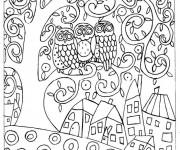 Coloriage Klimt Hiboux sur L'arbre