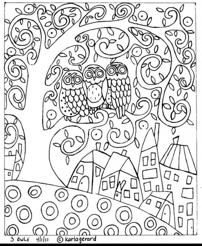 Coloriage et dessins gratuits Klimt Hiboux sur L'arbre à imprimer