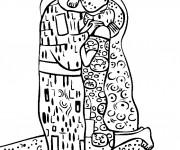 Coloriage et dessins gratuit Klimt Le Baiser à imprimer