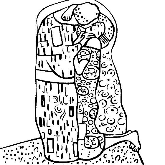 Coloriage et dessins gratuits Klimt Le Baiser à imprimer