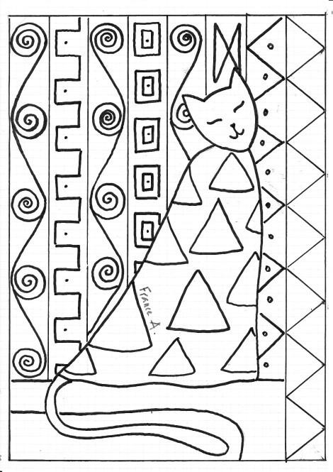Coloriage et dessins gratuits Klimt Le chat à imprimer