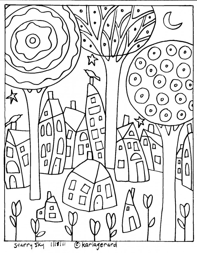Coloriage et dessins gratuits Klimt Le Village à imprimer