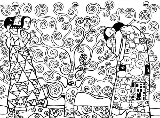 Coloriage et dessins gratuits Klimt Symoblisme à imprimer
