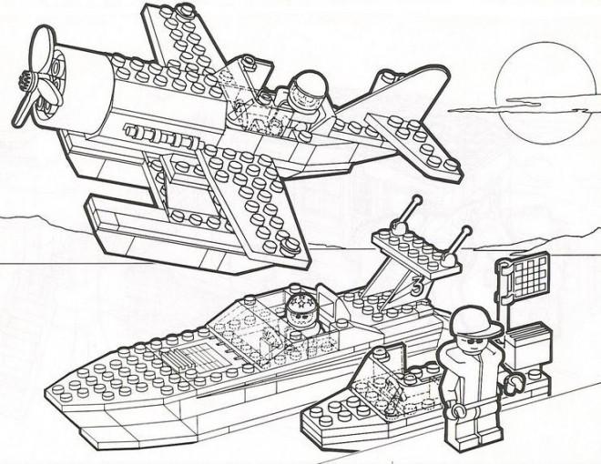 Coloriage et dessins gratuits Légo Avion et Bateau de Police à imprimer