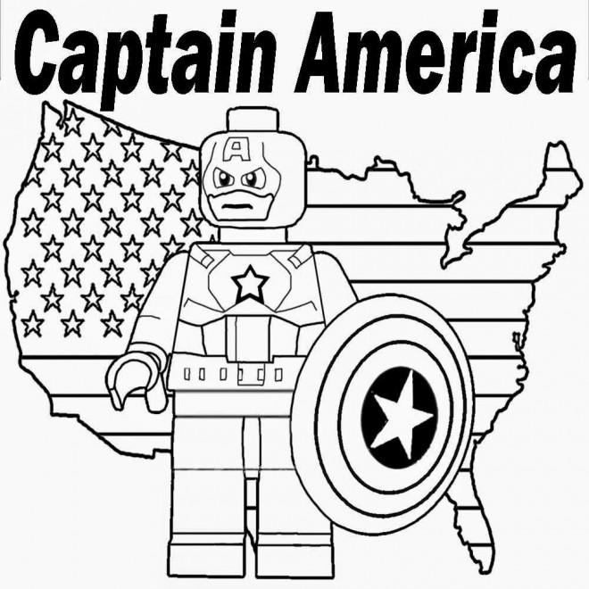 Coloriage et dessins gratuits Légo Captain America à imprimer