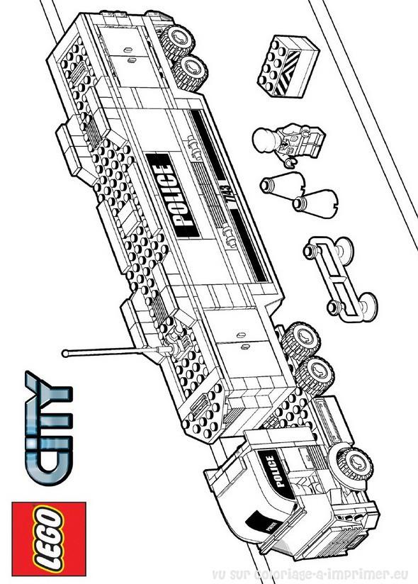 Coloriage et dessins gratuits Légo Véhicule de Police à imprimer