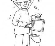 Coloriage Apiculteur au travail