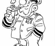 Coloriage Capitaine drôle