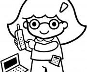 Coloriage La Petite Fille au téléphone