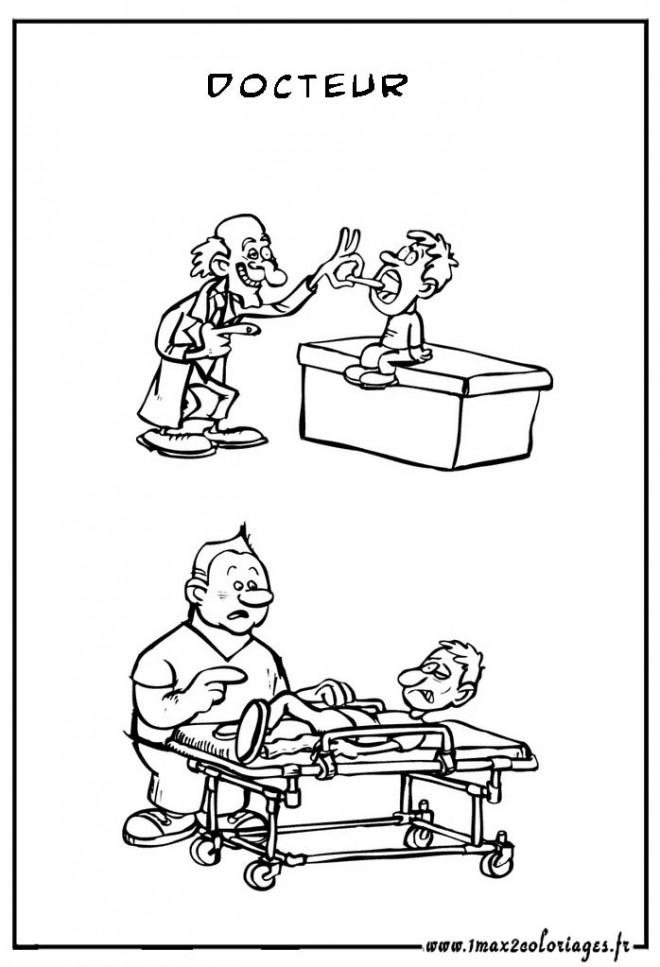 Coloriage et dessins gratuits Médecin humoristique à imprimer