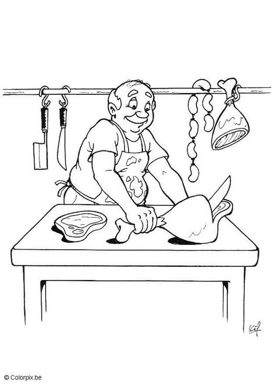 Coloriage et dessins gratuits Métier boucher à imprimer