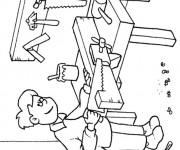 Coloriage et dessins gratuit Métier Charpentier à imprimer
