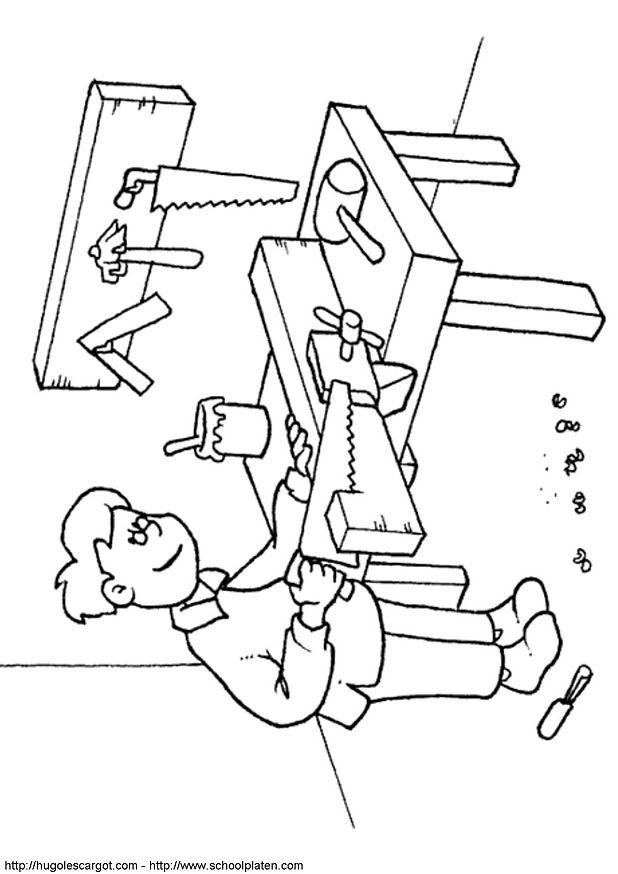 Coloriage et dessins gratuits Métier Charpentier à imprimer