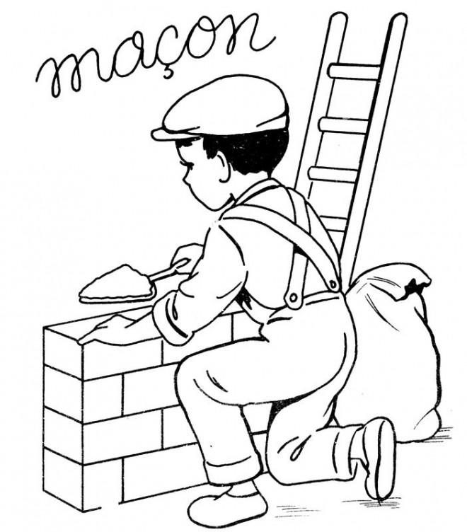 Coloriage et dessins gratuits Métier Maçon à imprimer