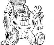 Coloriage Un mécanicien tout heureux
