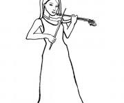 Coloriage Une Musicienne au crayon