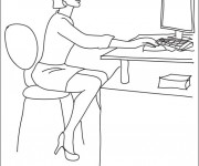 Coloriage Une secrétaire