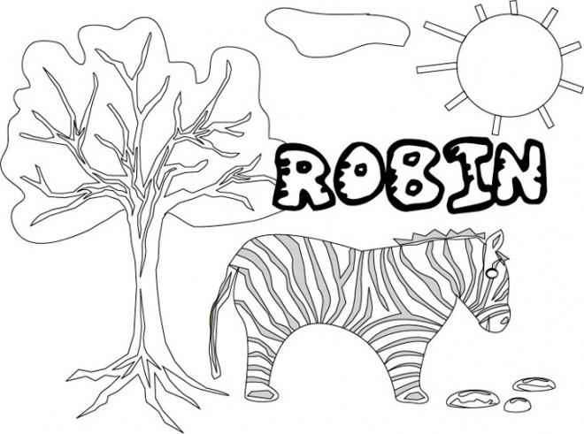 Coloriage et dessins gratuits Les Prénoms Robin à imprimer
