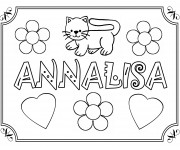 Coloriage et dessins gratuit Mon Prénom Annalisa avec Coeurs d'amour à imprimer