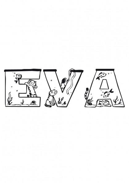 Coloriage et dessins gratuits prénom féminin  Eva à imprimer