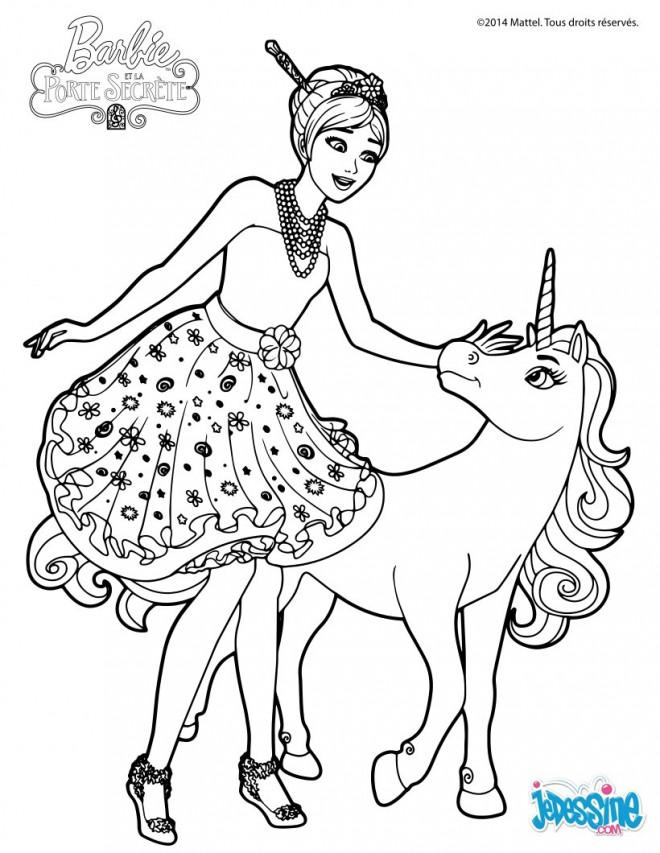 Coloriage et dessins gratuits Barbie et La Licorne à imprimer